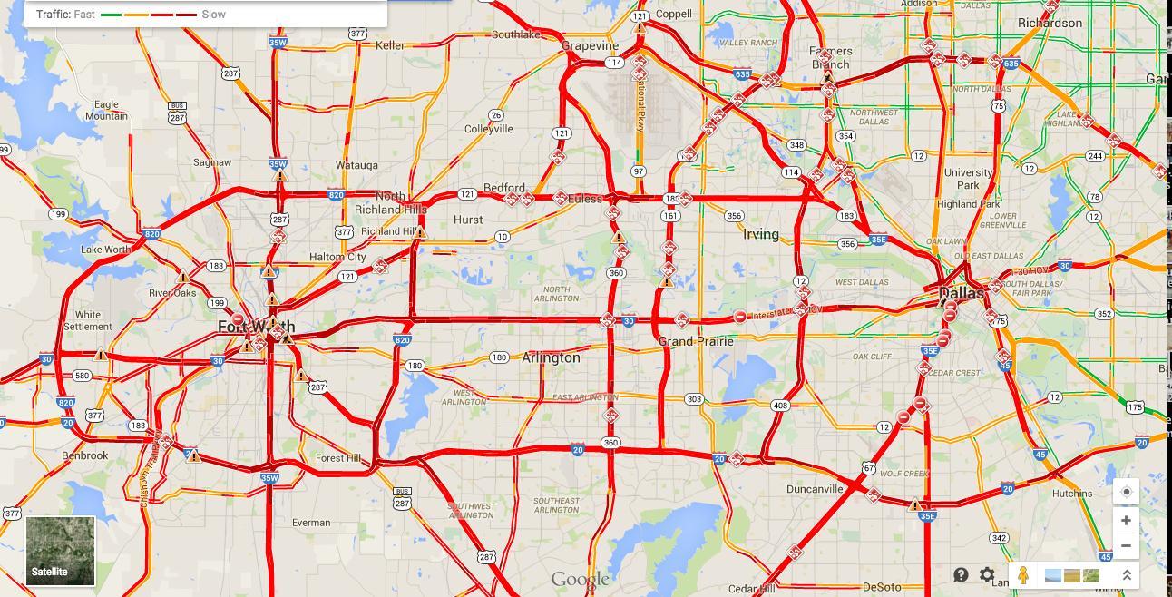 Dallas Trafikk Kart Kart Over Dallas Trafikk Texas Usa